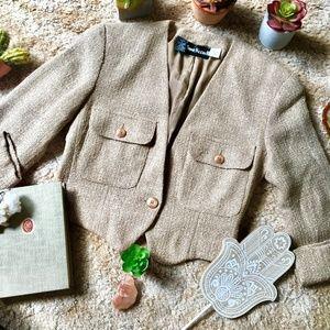 {Vintage Anne Klein} Tweed Silk Crop Blazer Jacket